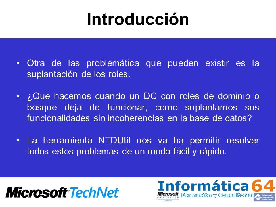 Limpieza de Metadatos remove selected server %s En la versión de Ntdsutil.exe incluida en Windows Server 2003 SP1, elimina los metadatos de directorio y FRS para el servidor deshabilitado %s del directorio del host local, e intenta transferir o asumir las funciones del maestro de operaciones que controla el servidor %s al host local.