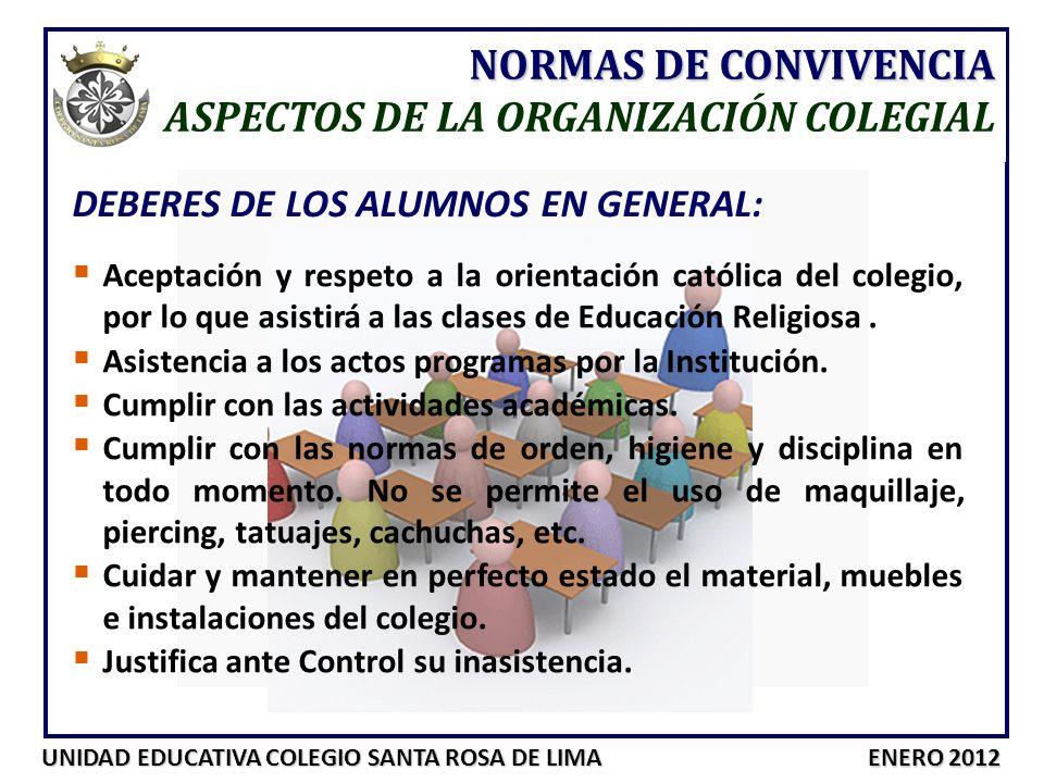 UNIDAD EDUCATIVA COLEGIO SANTA ROSA DE LIMA ENERO 2012 NORMAS DE CONVIVENCIA ASPECTOS DE LA ORGANIZACIÓN COLEGIAL DEBERES DE LOS ALUMNOS EN GENERAL: A