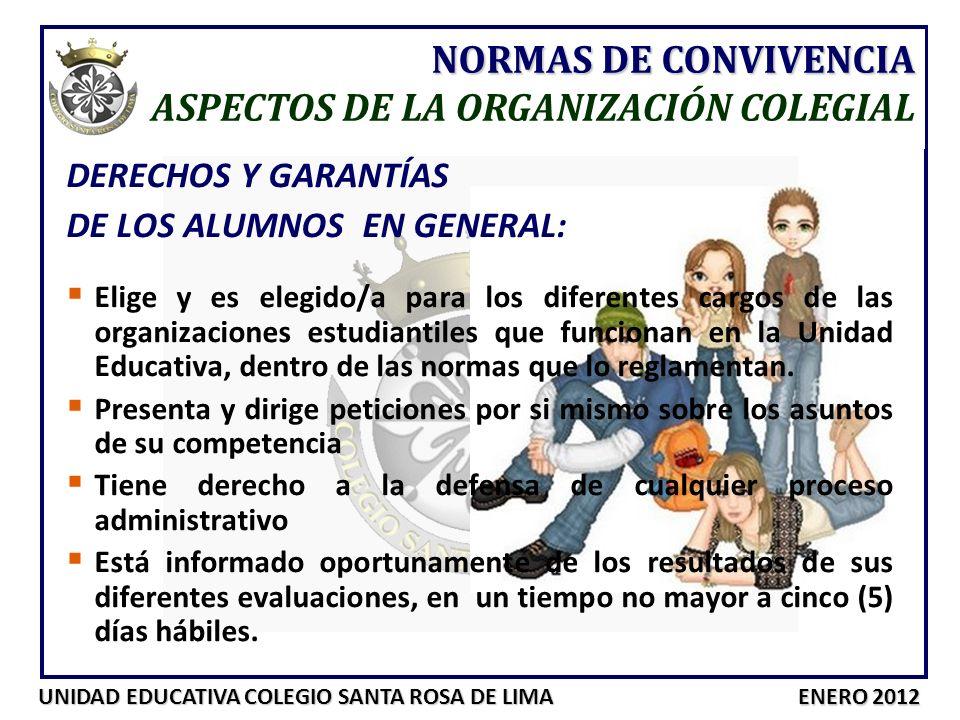 UNIDAD EDUCATIVA COLEGIO SANTA ROSA DE LIMA ENERO 2012 DERECHOS Y GARANTÍAS DE LOS ALUMNOS EN GENERAL: Elige y es elegido/a para los diferentes cargos