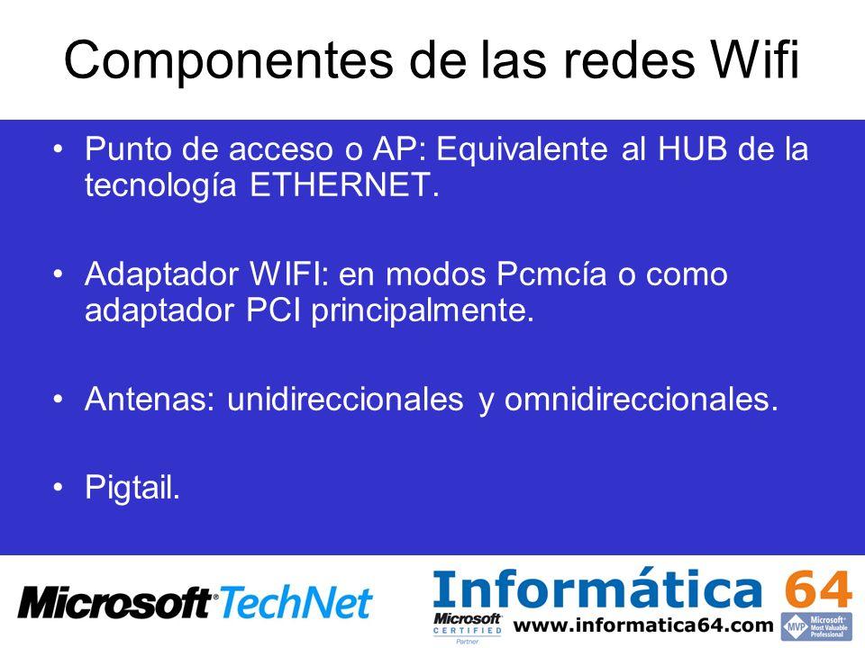 Componentes de las redes Wifi Punto de acceso o AP: Equivalente al HUB de la tecnología ETHERNET. Adaptador WIFI: en modos Pcmcía o como adaptador PCI