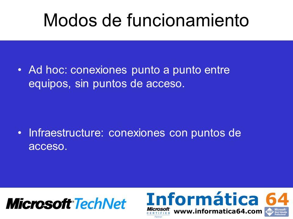 Modos de funcionamiento Ad hoc: conexiones punto a punto entre equipos, sin puntos de acceso. Infraestructure: conexiones con puntos de acceso.