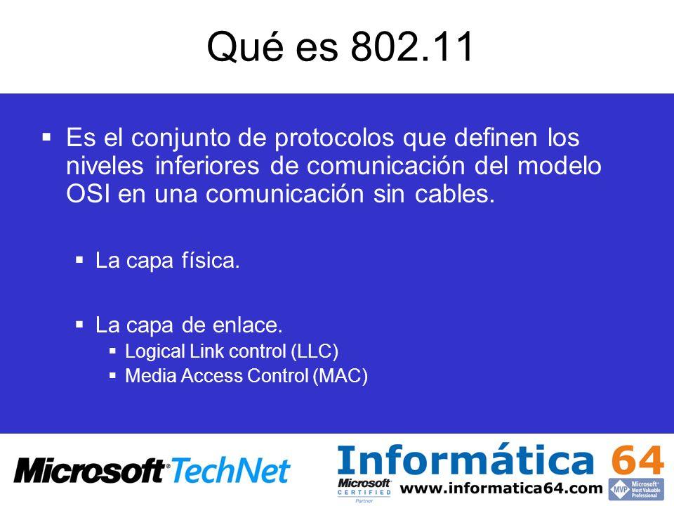 Qué es 802.11 Es el conjunto de protocolos que definen los niveles inferiores de comunicación del modelo OSI en una comunicación sin cables. La capa f