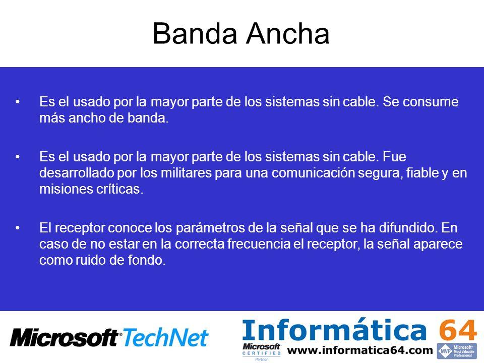 Banda Ancha Es el usado por la mayor parte de los sistemas sin cable. Se consume más ancho de banda. Es el usado por la mayor parte de los sistemas si