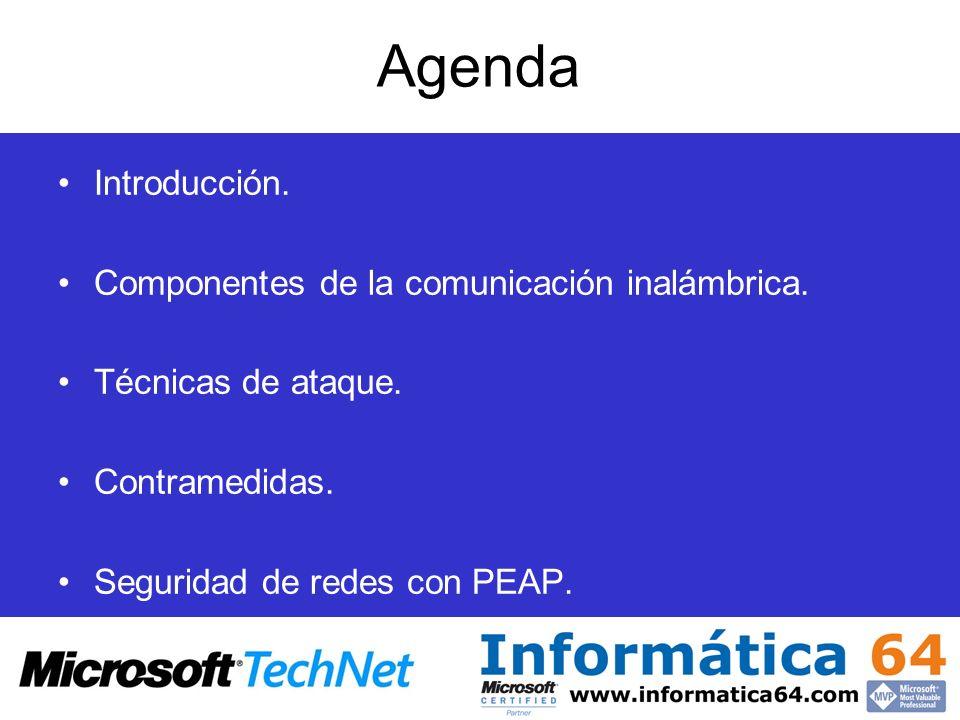 Agenda Introducción. Componentes de la comunicación inalámbrica. Técnicas de ataque. Contramedidas. Seguridad de redes con PEAP.