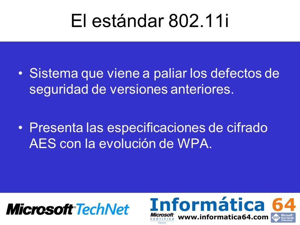 El estándar 802.11i Sistema que viene a paliar los defectos de seguridad de versiones anteriores. Presenta las especificaciones de cifrado AES con la