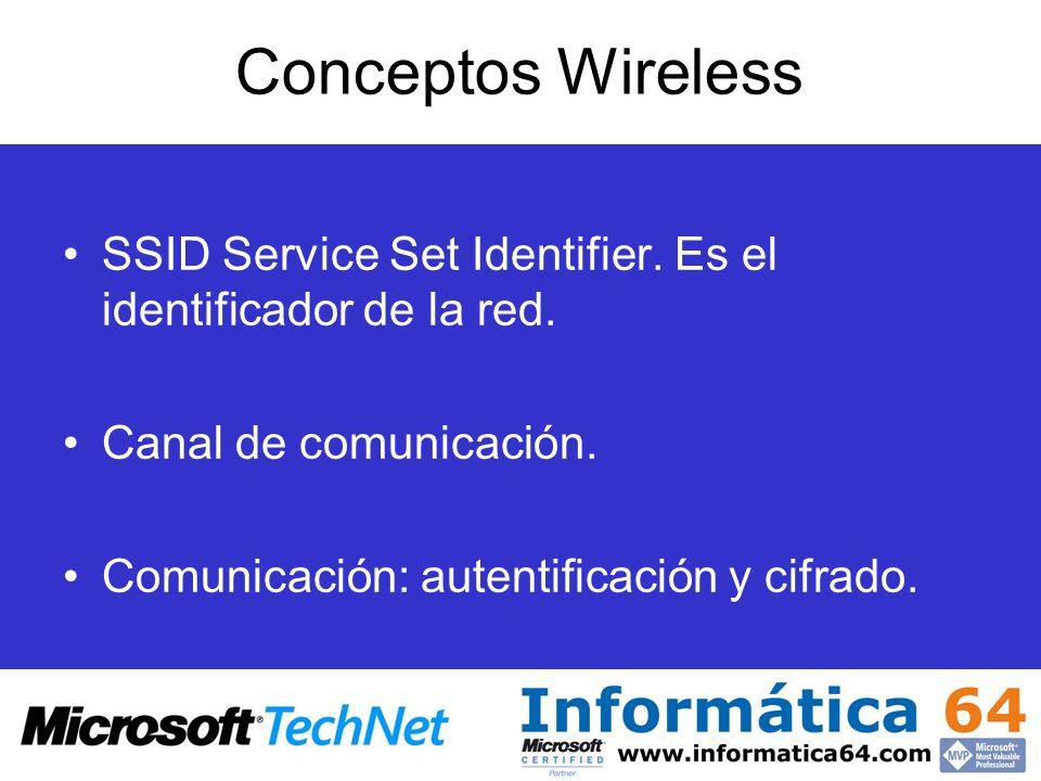 Conceptos Wireless SSID Service Set Identifier. Es el identificador de la red. Canal de comunicación. Comunicación: autentificación y cifrado.
