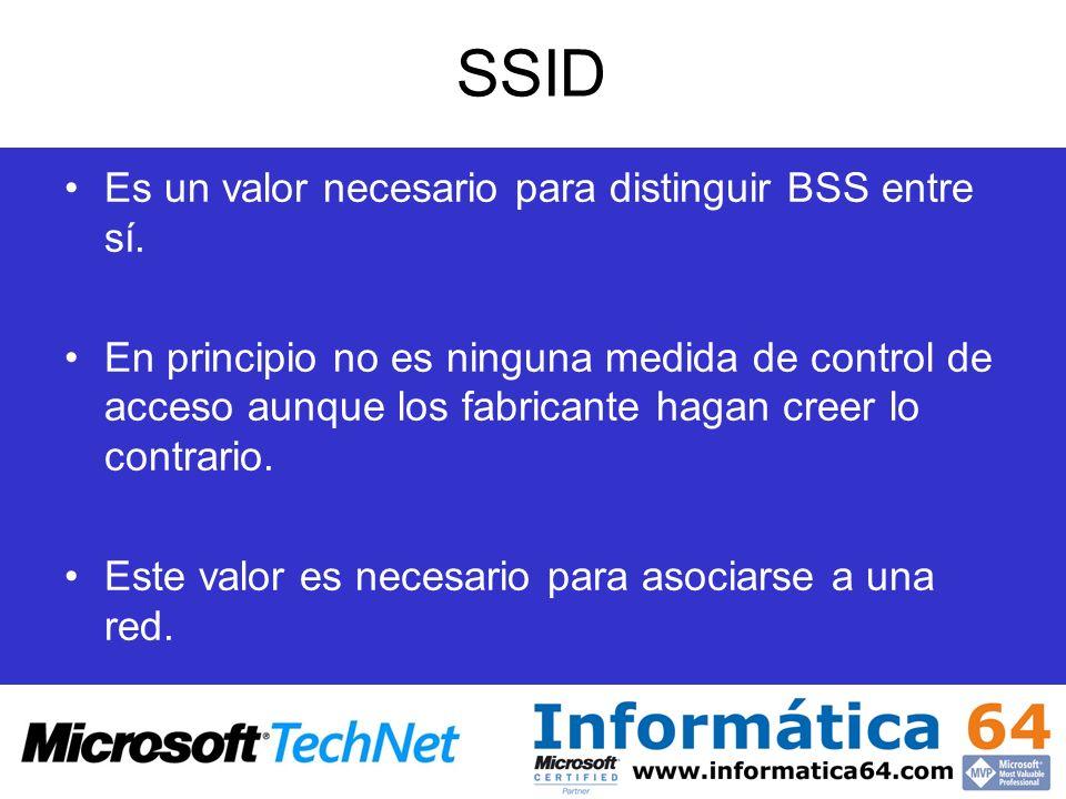 SSID Es un valor necesario para distinguir BSS entre sí. En principio no es ninguna medida de control de acceso aunque los fabricante hagan creer lo c