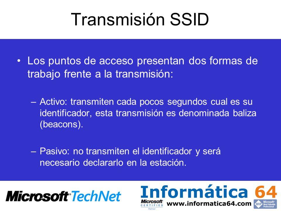 Transmisión SSID Los puntos de acceso presentan dos formas de trabajo frente a la transmisión: –Activo: transmiten cada pocos segundos cual es su iden
