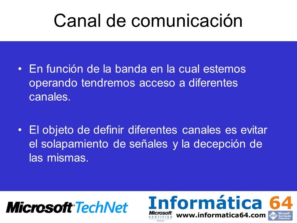 Canal de comunicación En función de la banda en la cual estemos operando tendremos acceso a diferentes canales. El objeto de definir diferentes canale