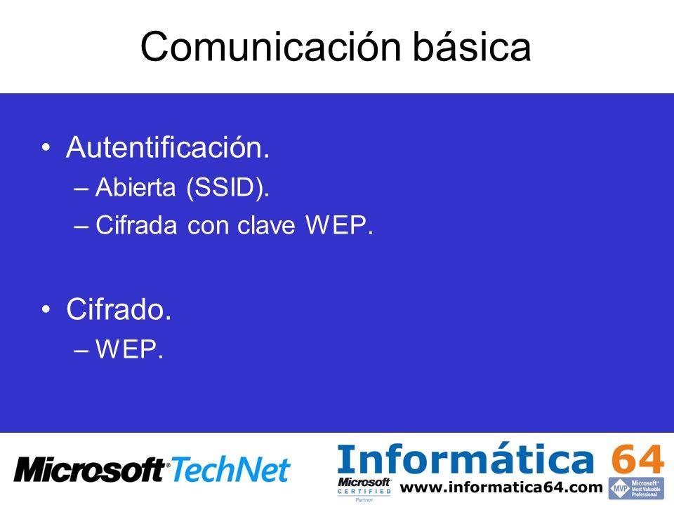 Comunicación básica Autentificación. –Abierta (SSID). –Cifrada con clave WEP. Cifrado. –WEP.