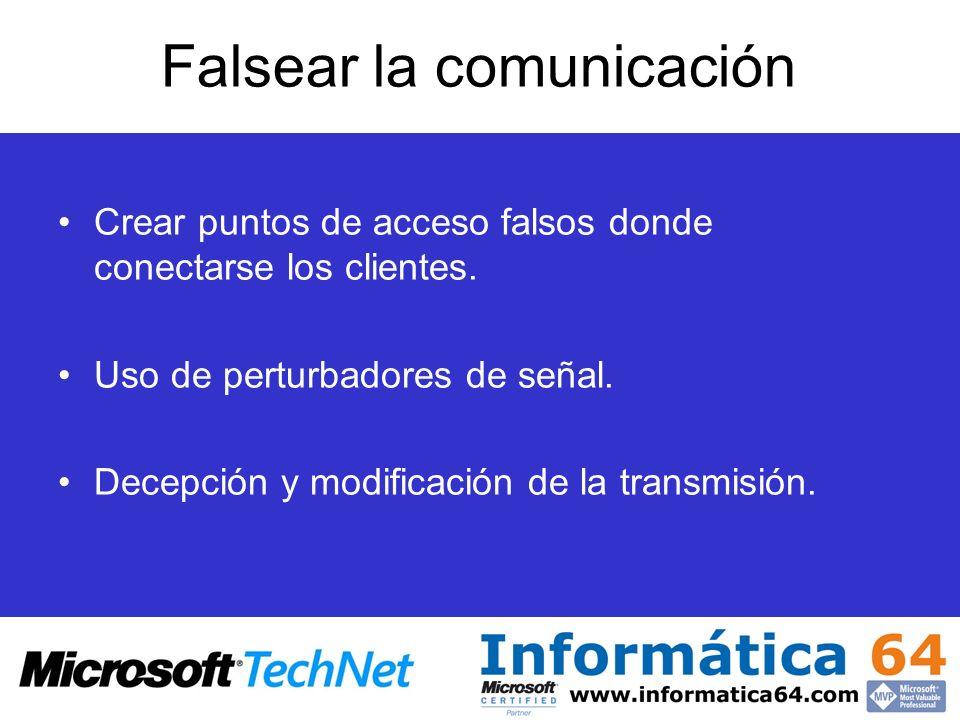 Falsear la comunicación Crear puntos de acceso falsos donde conectarse los clientes. Uso de perturbadores de señal. Decepción y modificación de la tra