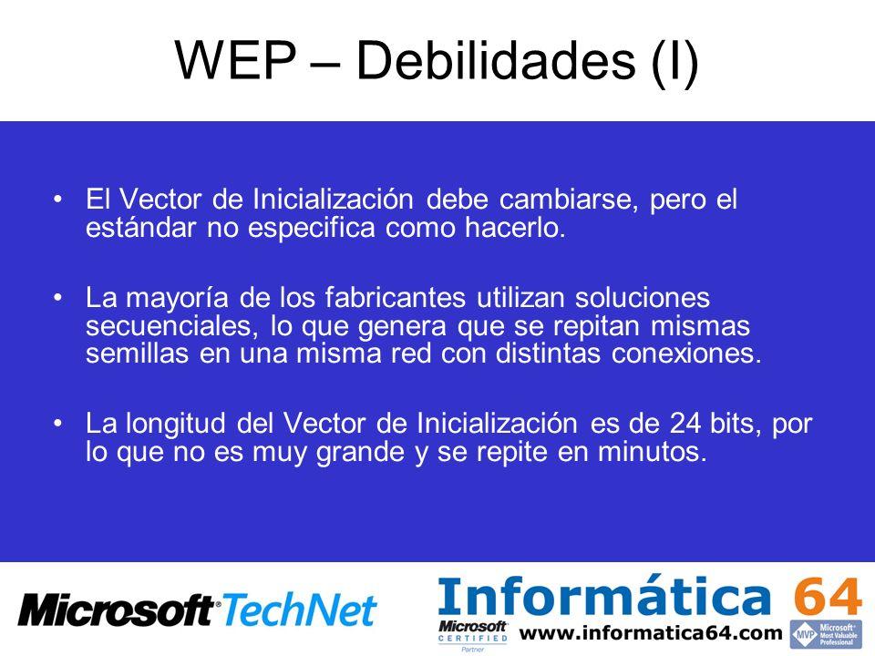 WEP – Debilidades (I) El Vector de Inicialización debe cambiarse, pero el estándar no especifica como hacerlo. La mayoría de los fabricantes utilizan
