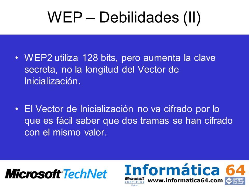 WEP – Debilidades (II) WEP2 utiliza 128 bits, pero aumenta la clave secreta, no la longitud del Vector de Inicialización. El Vector de Inicialización