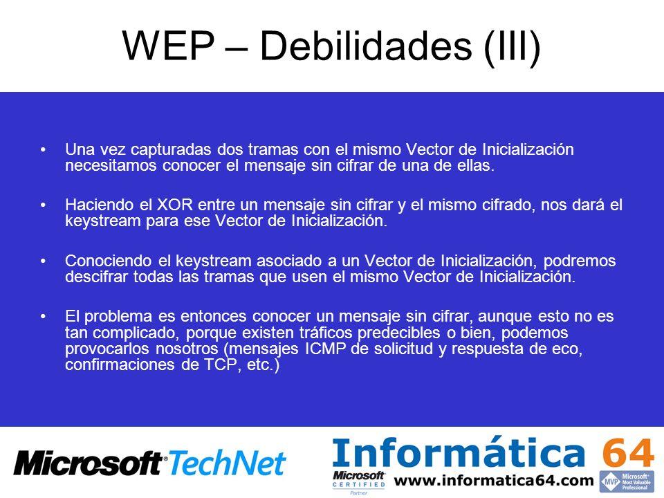 WEP – Debilidades (III) Una vez capturadas dos tramas con el mismo Vector de Inicialización necesitamos conocer el mensaje sin cifrar de una de ellas.