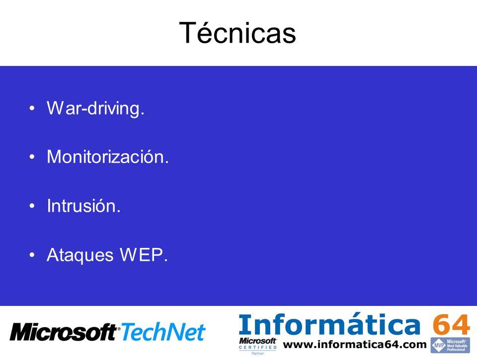Técnicas War-driving. Monitorización. Intrusión. Ataques WEP.