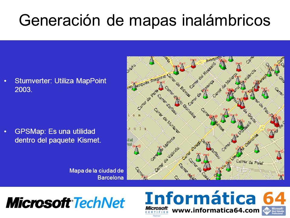 Generación de mapas inalámbricos Stumverter: Utiliza MapPoint 2003. GPSMap: Es una utilidad dentro del paquete Kismet. Mapa de la ciudad de Barcelona