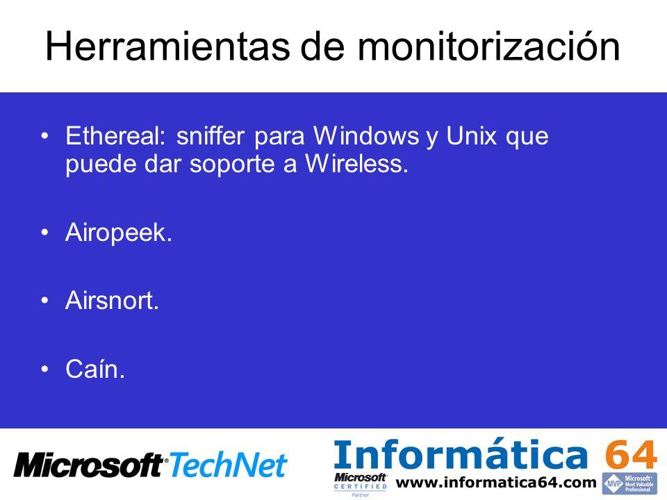 Herramientas de monitorización Ethereal: sniffer para Windows y Unix que puede dar soporte a Wireless. Airopeek. Airsnort. Caín.