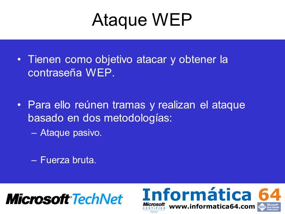 Ataque WEP Tienen como objetivo atacar y obtener la contraseña WEP. Para ello reúnen tramas y realizan el ataque basado en dos metodologías: –Ataque p
