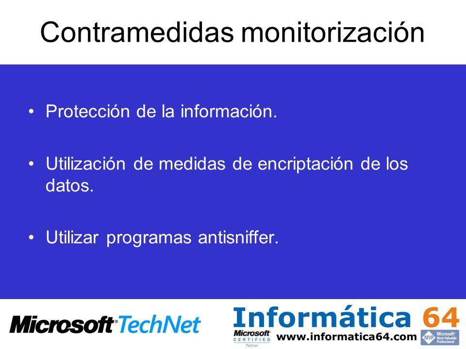 Contramedidas monitorización Protección de la información. Utilización de medidas de encriptación de los datos. Utilizar programas antisniffer.