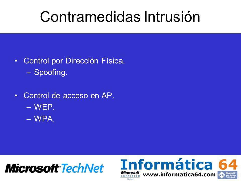 Contramedidas Intrusión Control por Dirección Física. –Spoofing. Control de acceso en AP. –WEP. –WPA.