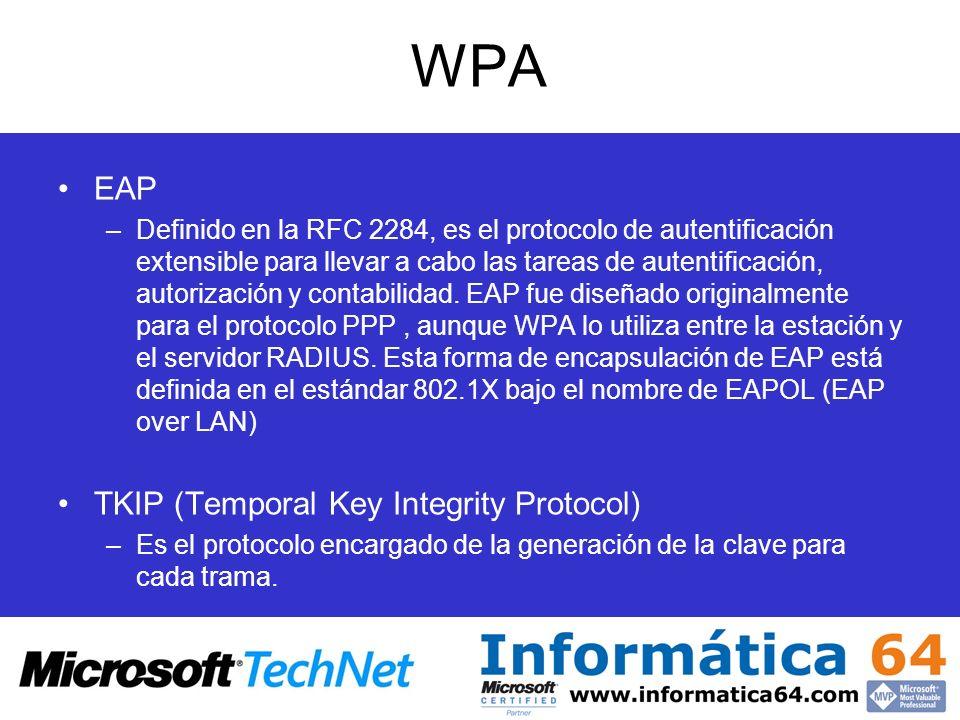 WPA EAP –Definido en la RFC 2284, es el protocolo de autentificación extensible para llevar a cabo las tareas de autentificación, autorización y conta