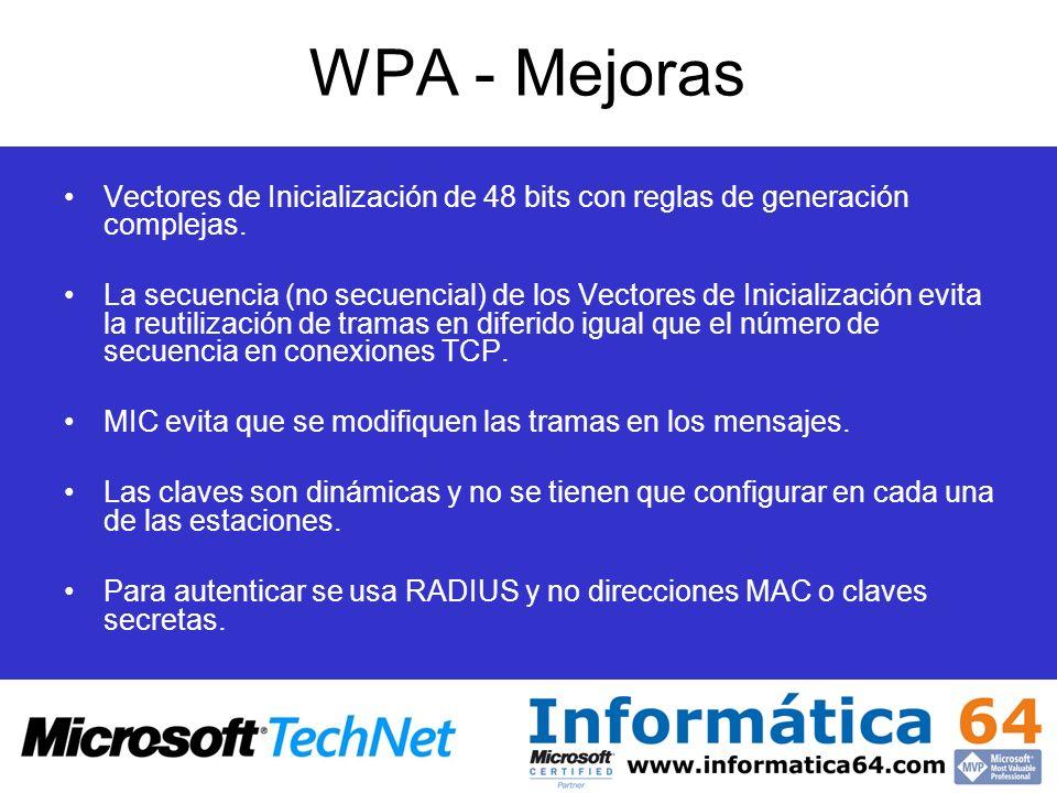 WPA - Mejoras Vectores de Inicialización de 48 bits con reglas de generación complejas. La secuencia (no secuencial) de los Vectores de Inicialización