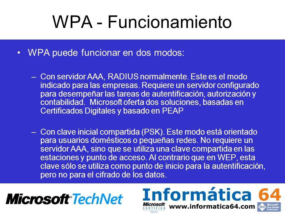 WPA - Funcionamiento WPA puede funcionar en dos modos: –Con servidor AAA, RADIUS normalmente. Este es el modo indicado para las empresas. Requiere un