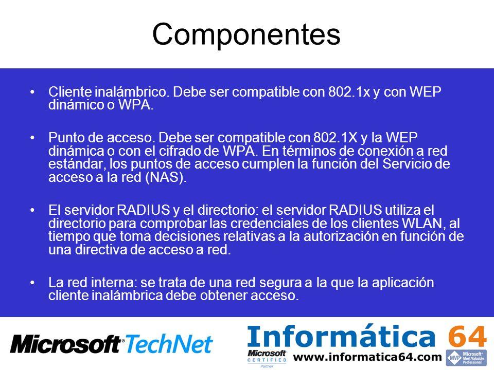 Componentes Cliente inalámbrico. Debe ser compatible con 802.1x y con WEP dinámico o WPA. Punto de acceso. Debe ser compatible con 802.1X y la WEP din