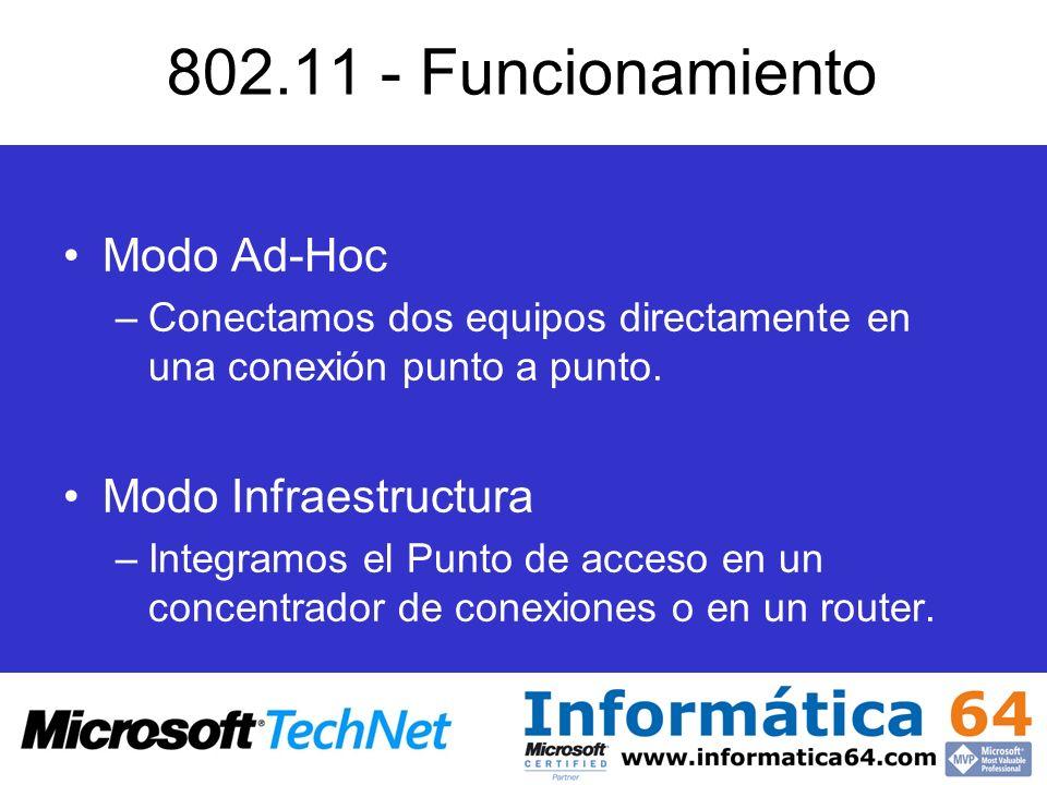 802.11 - Funcionamiento Modo Ad-Hoc –Conectamos dos equipos directamente en una conexión punto a punto. Modo Infraestructura –Integramos el Punto de a