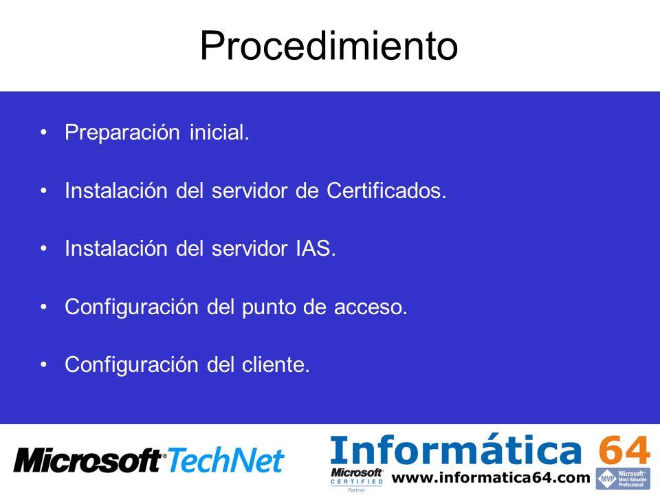 Procedimiento Preparación inicial. Instalación del servidor de Certificados. Instalación del servidor IAS. Configuración del punto de acceso. Configur