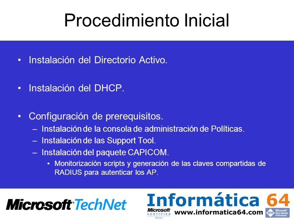 Procedimiento Inicial Instalación del Directorio Activo. Instalación del DHCP. Configuración de prerequisitos. –Instalación de la consola de administr