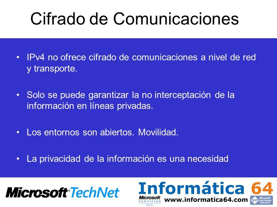 Cifrado de Comunicaciones IPv4 no ofrece cifrado de comunicaciones a nivel de red y transporte. Solo se puede garantizar la no interceptación de la in