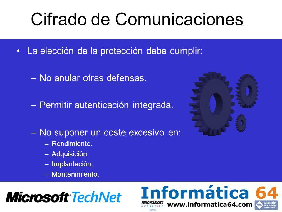 Cifrado de Comunicaciones La elección de la protección debe cumplir: –No anular otras defensas. –Permitir autenticación integrada. –No suponer un cost