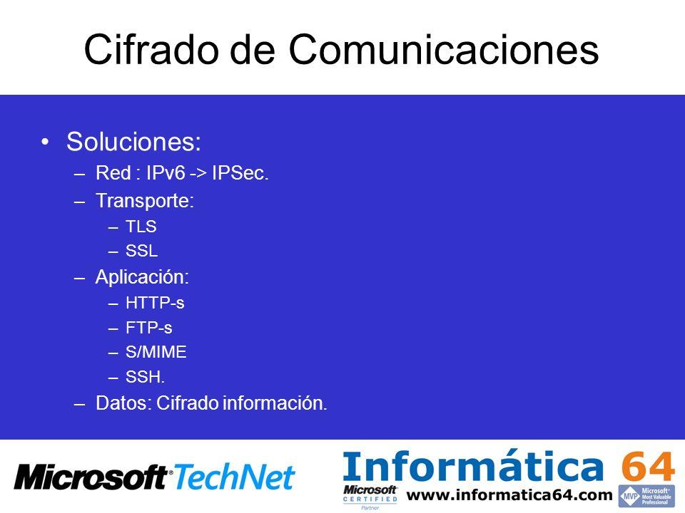 Cifrado de Comunicaciones Soluciones: –Red : IPv6 -> IPSec. –Transporte: –TLS –SSL –Aplicación: –HTTP-s –FTP-s –S/MIME –SSH. –Datos: Cifrado informaci