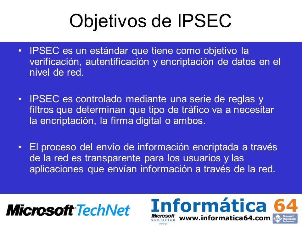 Objetivos de IPSEC IPSEC es un estándar que tiene como objetivo la verificación, autentificación y encriptación de datos en el nivel de red. IPSEC es