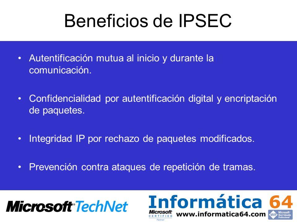 Beneficios de IPSEC Autentificación mutua al inicio y durante la comunicación. Confidencialidad por autentificación digital y encriptación de paquetes
