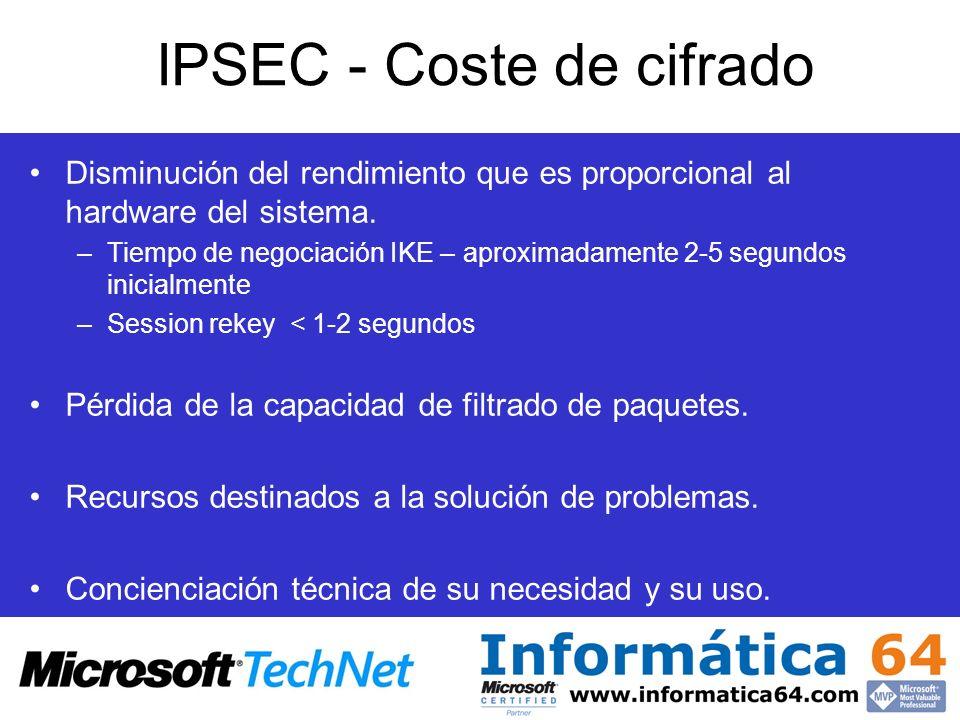 IPSEC - Coste de cifrado Disminución del rendimiento que es proporcional al hardware del sistema. –Tiempo de negociación IKE – aproximadamente 2-5 seg