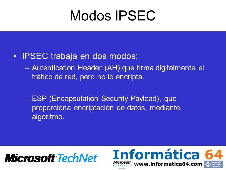 Modos IPSEC IPSEC trabaja en dos modos: –Autentication Header (AH),que firma digitalmente el tráfico de red, pero no lo encripta. –ESP (Encapsulation