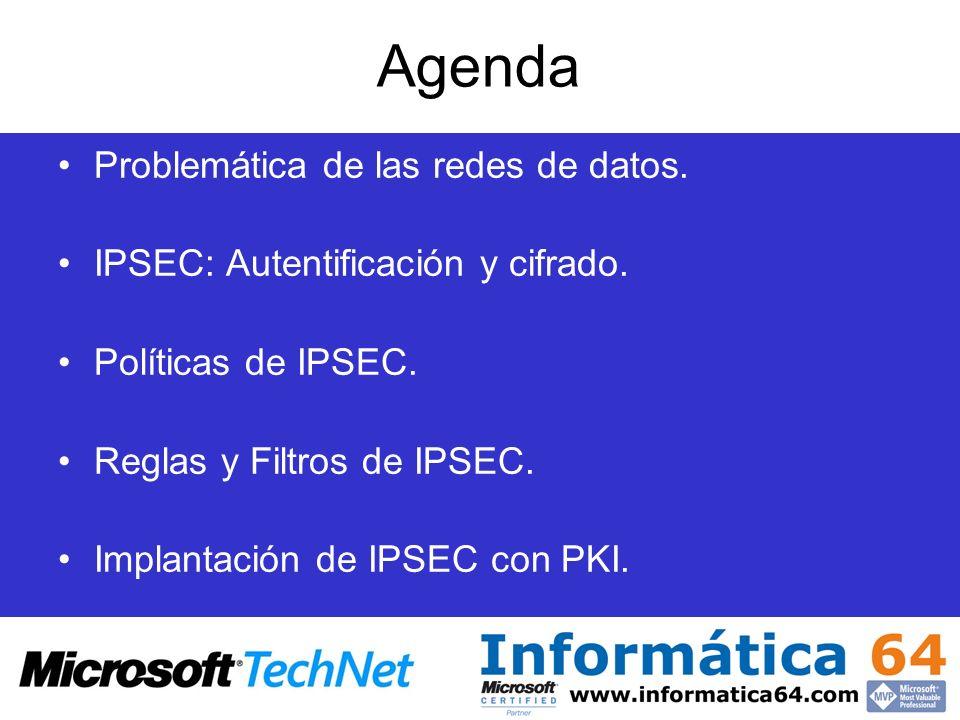 Agenda Problemática de las redes de datos. IPSEC: Autentificación y cifrado. Políticas de IPSEC. Reglas y Filtros de IPSEC. Implantación de IPSEC con