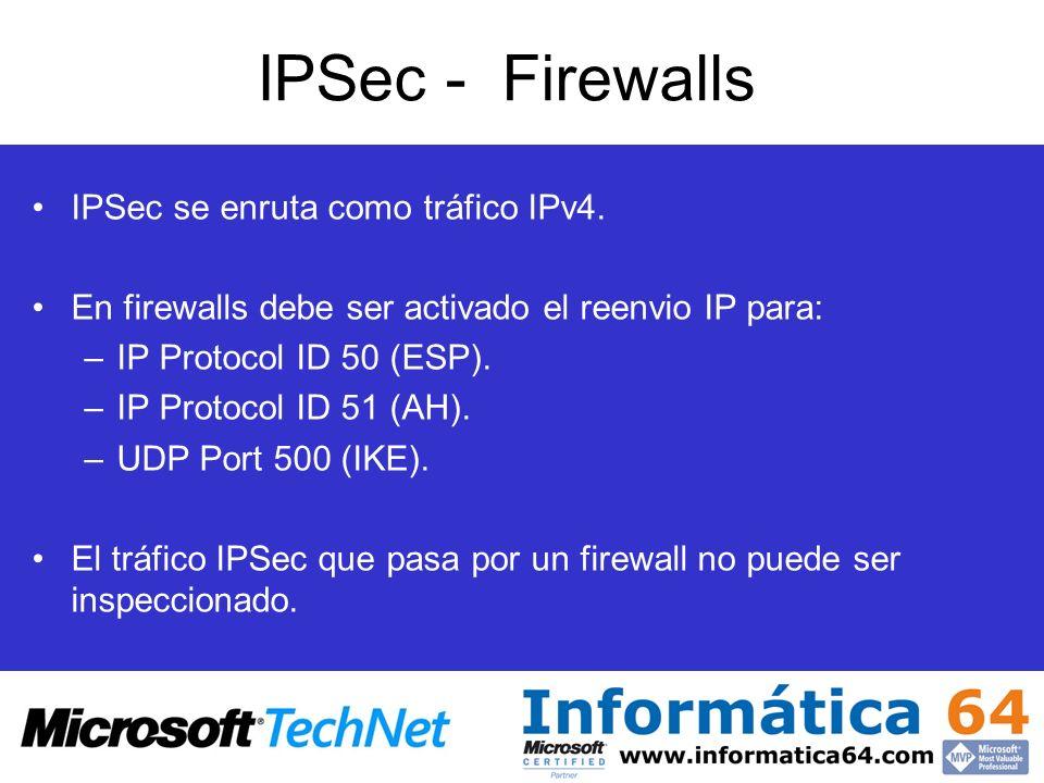IPSec - Firewalls IPSec se enruta como tráfico IPv4. En firewalls debe ser activado el reenvio IP para: –IP Protocol ID 50 (ESP). –IP Protocol ID 51 (