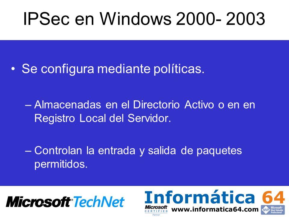 IPSec en Windows 2000- 2003 Se configura mediante políticas. –Almacenadas en el Directorio Activo o en en Registro Local del Servidor. –Controlan la e