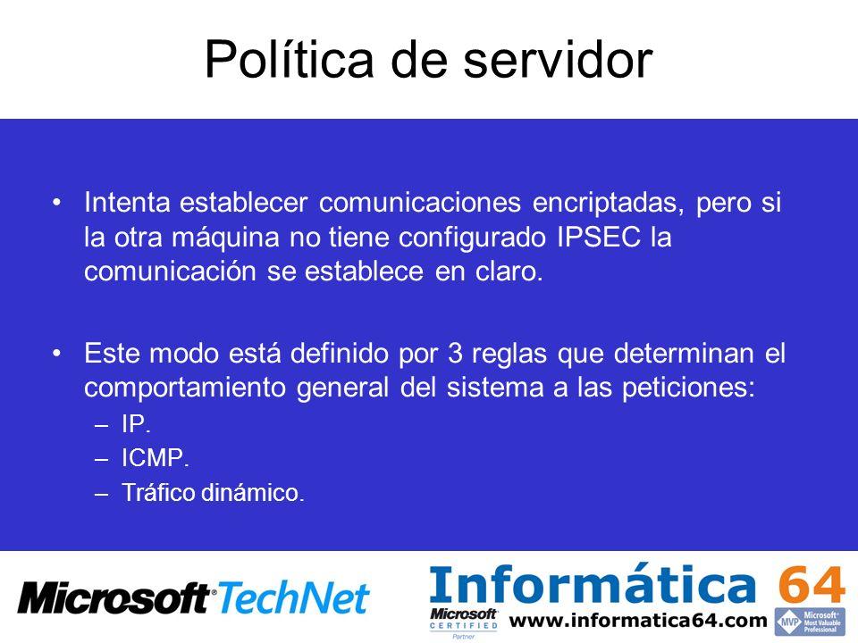 Política de servidor Intenta establecer comunicaciones encriptadas, pero si la otra máquina no tiene configurado IPSEC la comunicación se establece en