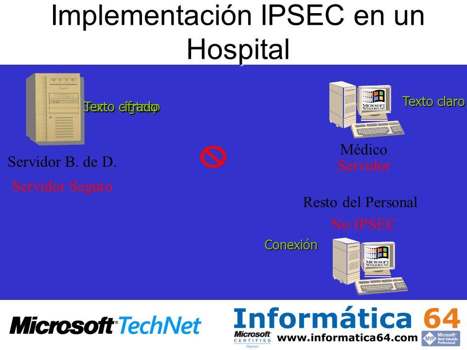 Implementación IPSEC en un Hospital Servidor B. de D. Resto del Personal Médico Servidor Seguro Servidor No IPSEC 3ecto elgtasp Texto claro Texto cifr