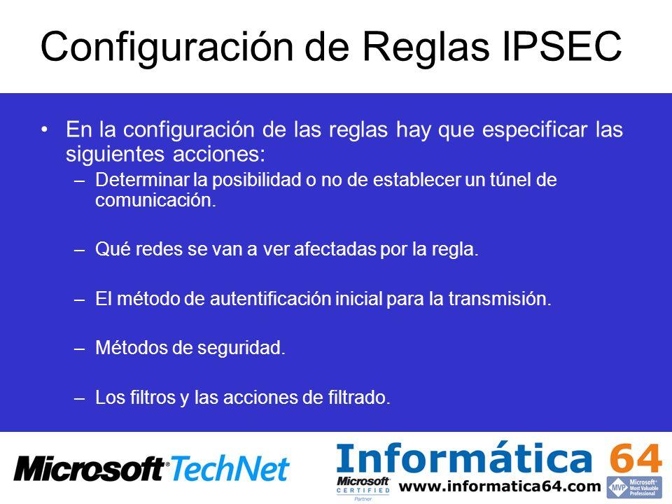 Configuración de Reglas IPSEC En la configuración de las reglas hay que especificar las siguientes acciones: –Determinar la posibilidad o no de establ