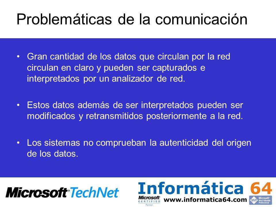 Problemáticas de la comunicación Gran cantidad de los datos que circulan por la red circulan en claro y pueden ser capturados e interpretados por un a