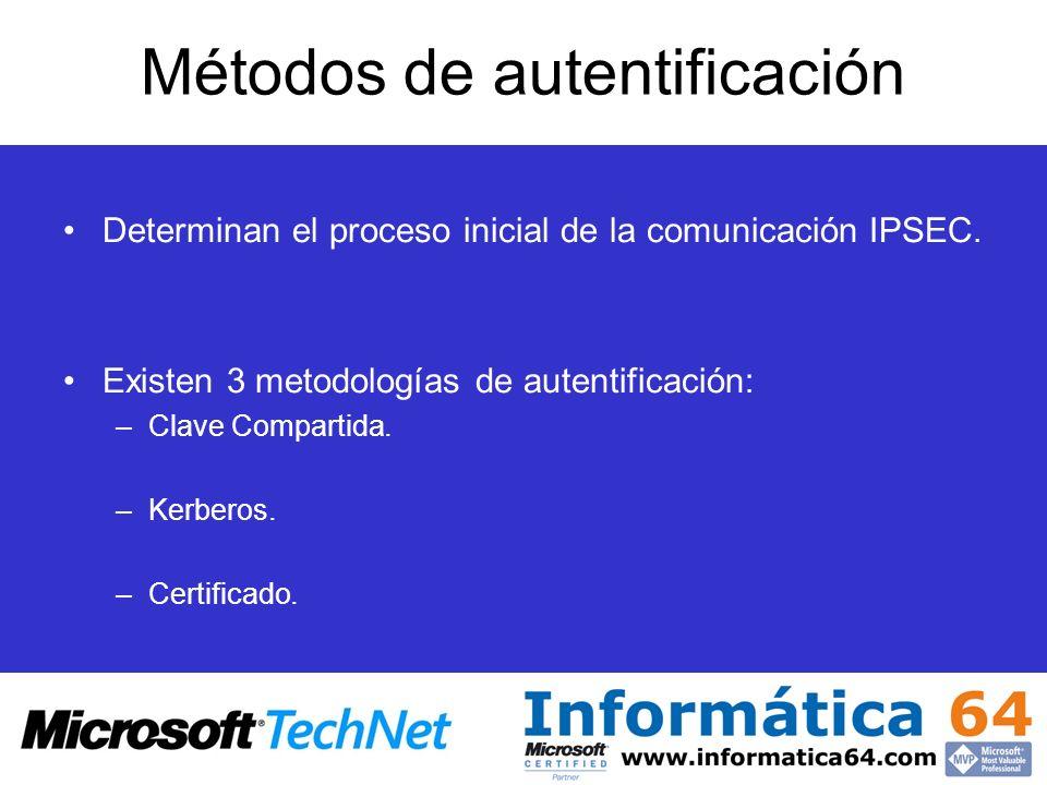 Métodos de autentificación Determinan el proceso inicial de la comunicación IPSEC. Existen 3 metodologías de autentificación: –Clave Compartida. –Kerb