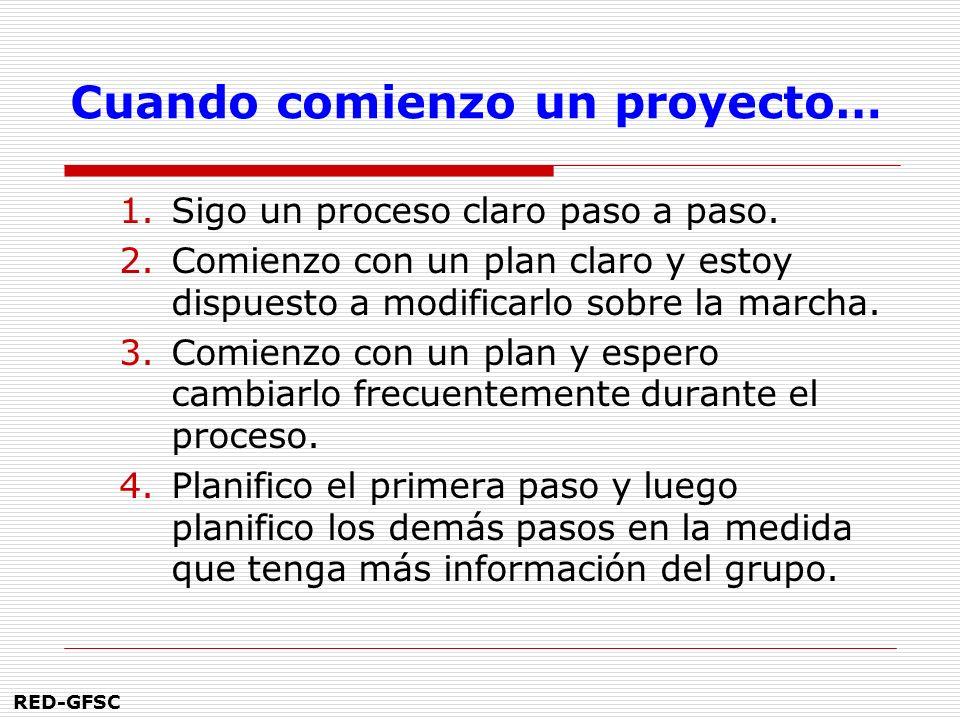 RED-GFSC Cuando comienzo un proyecto… 1.Sigo un proceso claro paso a paso.