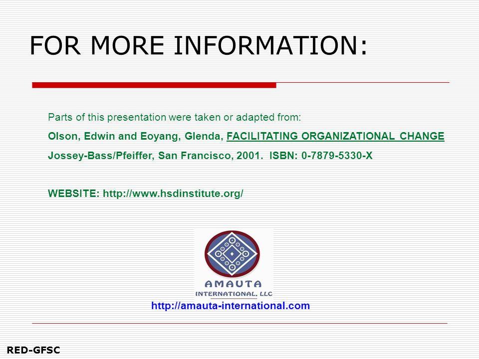 RED-GFSC PARA MAS INFORMACIÓN: Gracias por su participación y la puesta en práctica de sus aprendizajes Algunas partes de este material fueron tomadas