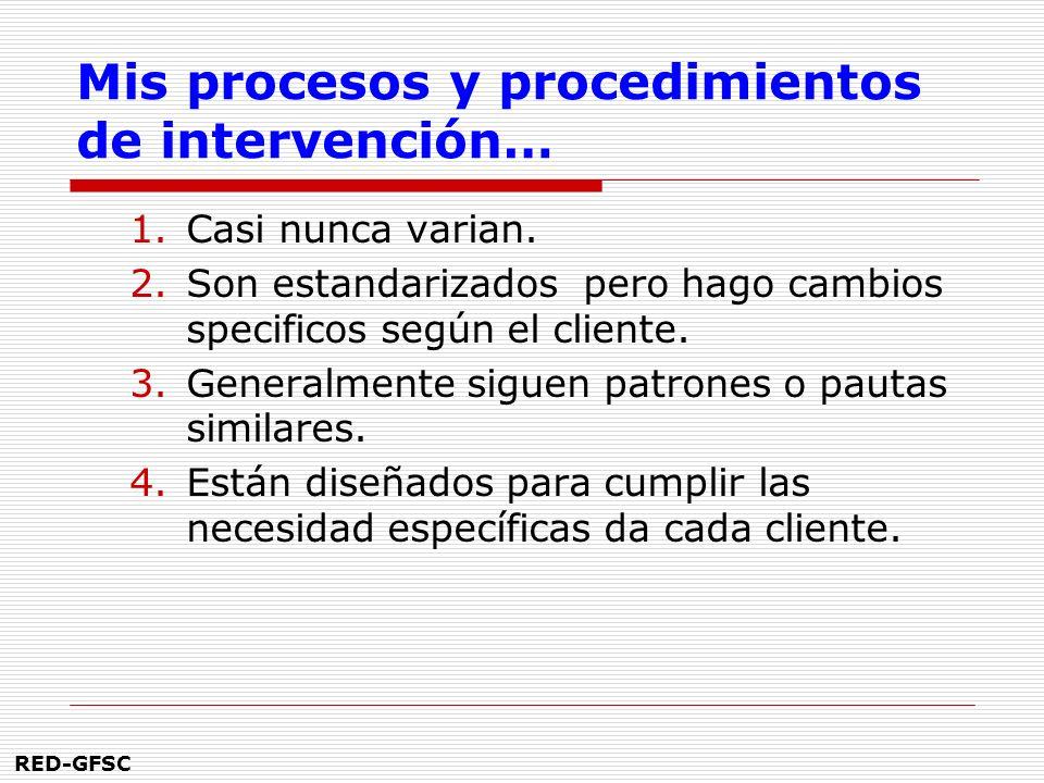 RED-GFSC Mis procesos y procedimientos de intervención… 1.Casi nunca varian.