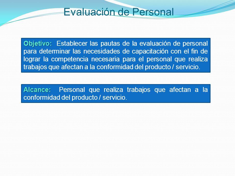 Evaluación de Personal Objetivo: Objetivo: Establecer las pautas de la evaluación de personal para determinar las necesidades de capacitación con el f